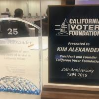 CVF Board & Future of California Elections recognize Kim Alexander's 25 year with CVF