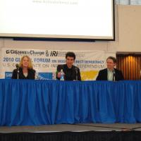 Image of CVF President Kim Alexander at Global Forum on Modern Direct Democracy, San Francisco 2010